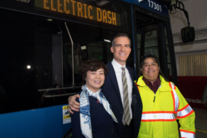 "City of LA Unveils First Four of ""Pure"" Electric Bus Fleet"